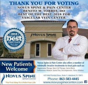 Novus Spine & Pain Center winner of 2018 Best of the Best Award in Lakeland, Florida