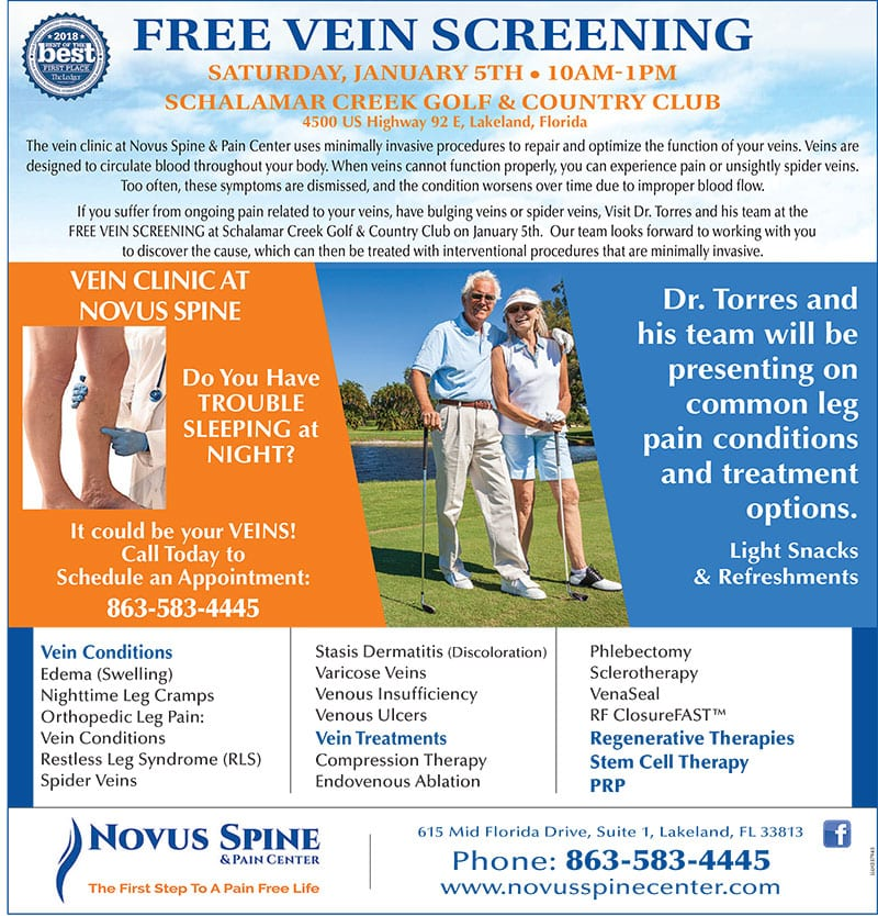 Novus Spine & Pain Center Free Vein Clinic January 5, 2019, Lakeland, Florida