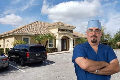 Novus Spine & Pain Center exterior with Dr. Torres